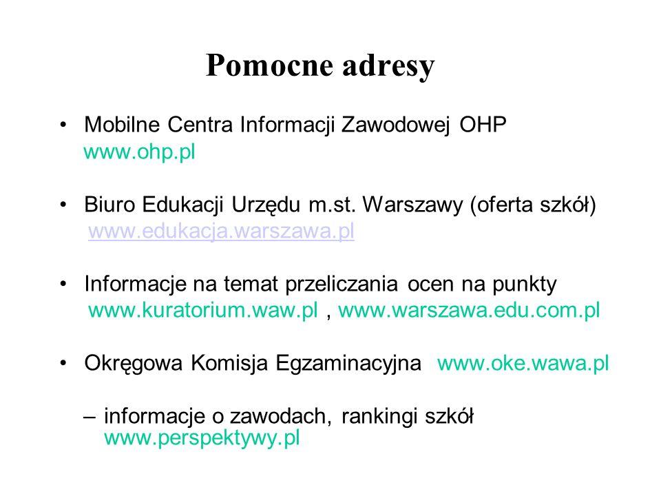 Pomocne adresy Mobilne Centra Informacji Zawodowej OHP www.ohp.pl