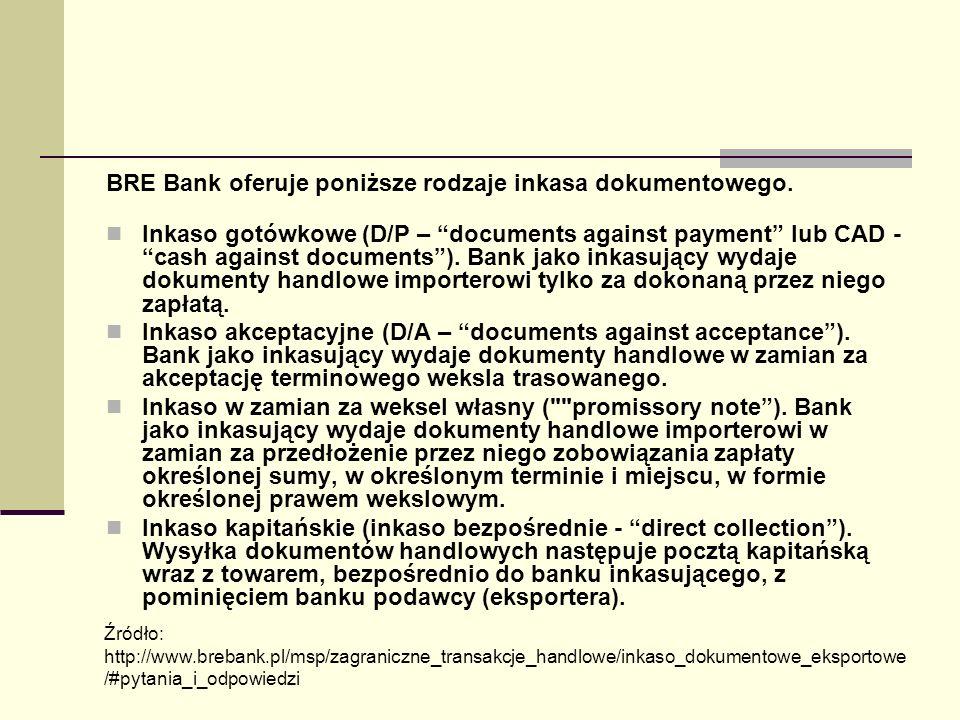 BRE Bank oferuje poniższe rodzaje inkasa dokumentowego.
