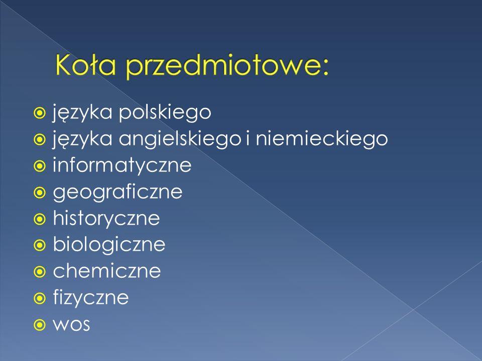 Koła przedmiotowe: języka polskiego języka angielskiego i niemieckiego