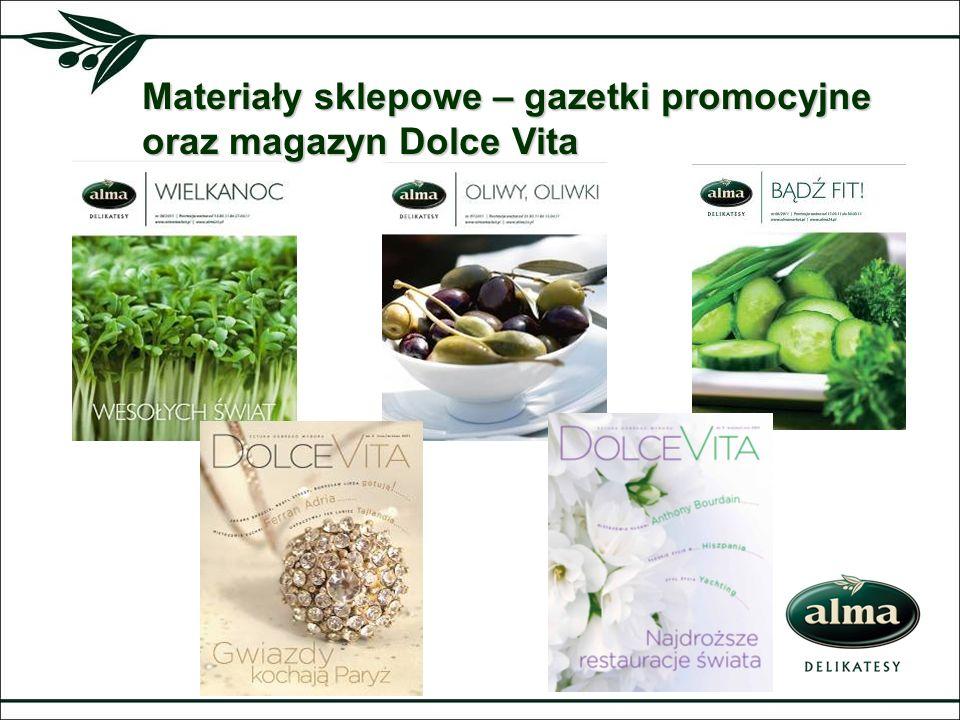 Materiały sklepowe – gazetki promocyjne oraz magazyn Dolce Vita