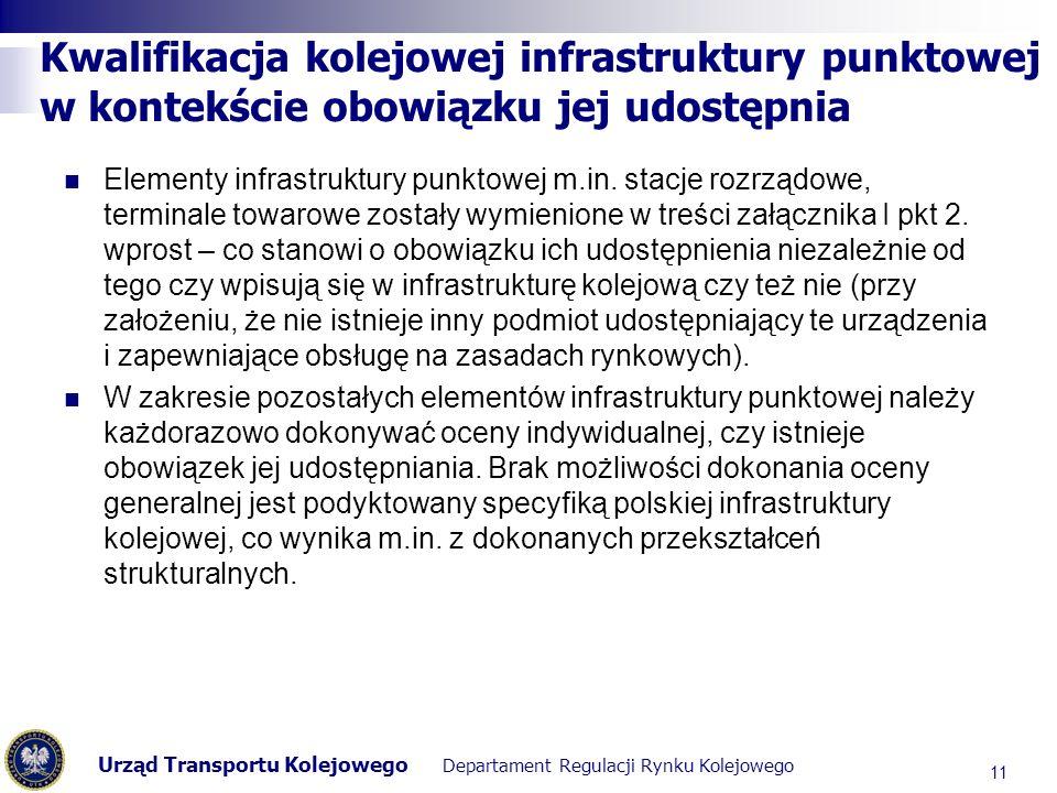 Kwalifikacja kolejowej infrastruktury punktowej w kontekście obowiązku jej udostępnia