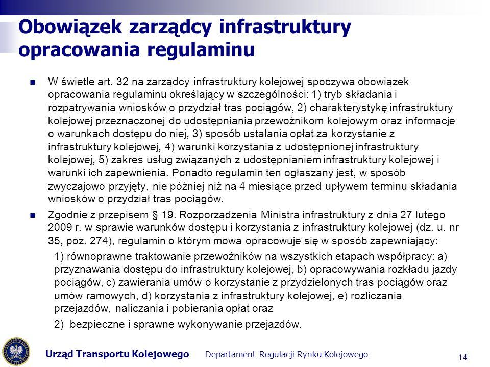 Obowiązek zarządcy infrastruktury opracowania regulaminu