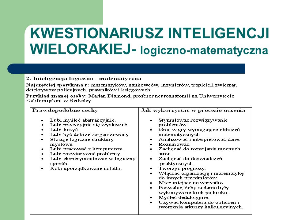 KWESTIONARIUSZ INTELIGENCJI WIELORAKIEJ- logiczno-matematyczna