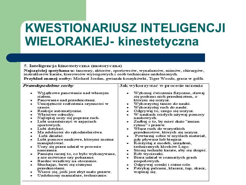 KWESTIONARIUSZ INTELIGENCJI WIELORAKIEJ- kinestetyczna