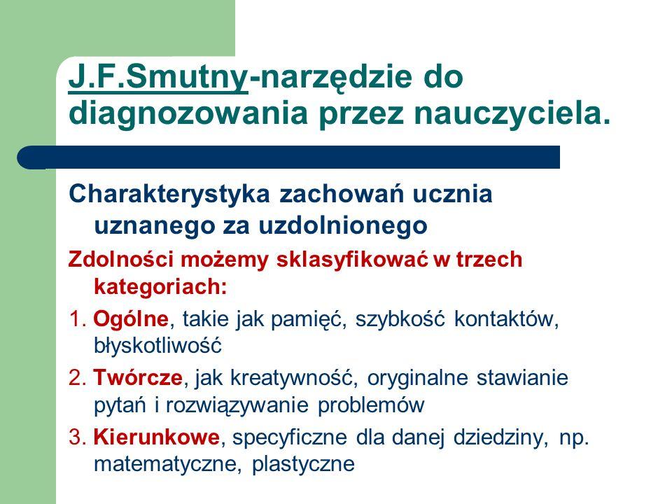 J.F.Smutny-narzędzie do diagnozowania przez nauczyciela.