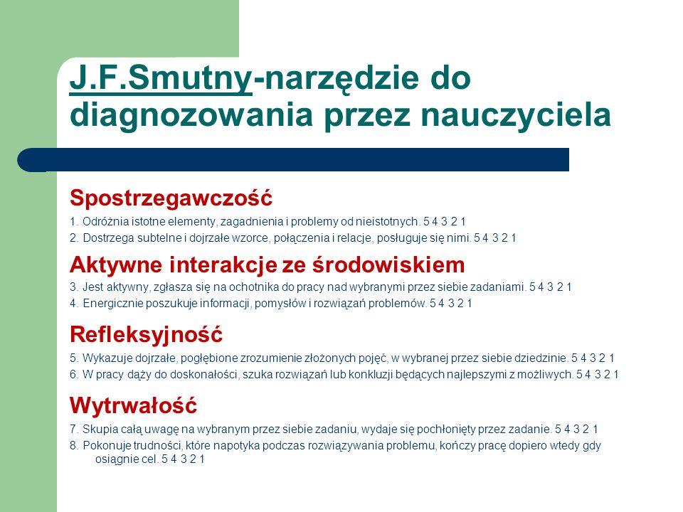J.F.Smutny-narzędzie do diagnozowania przez nauczyciela