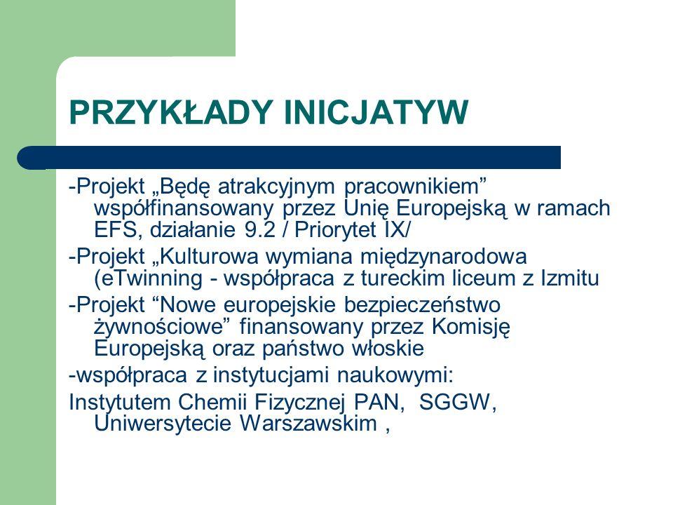 """PRZYKŁADY INICJATYW -Projekt """"Będę atrakcyjnym pracownikiem współfinansowany przez Unię Europejską w ramach EFS, działanie 9.2 / Priorytet IX/"""