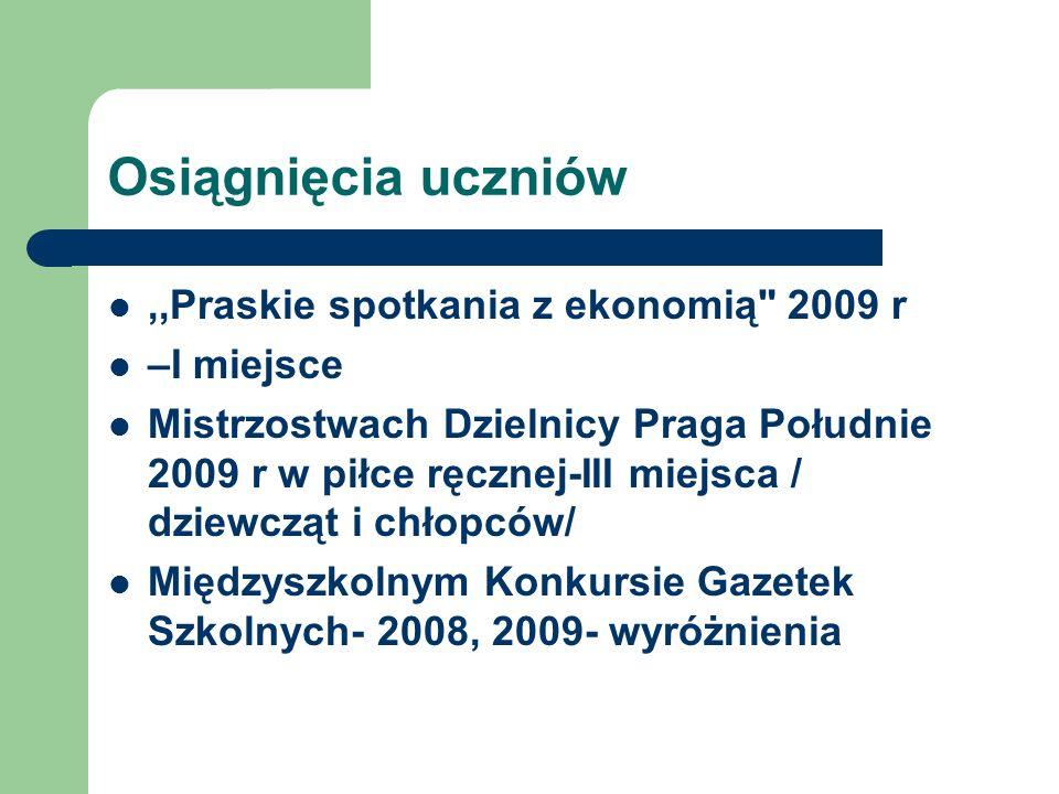 Osiągnięcia uczniów ,,Praskie spotkania z ekonomią 2009 r –I miejsce