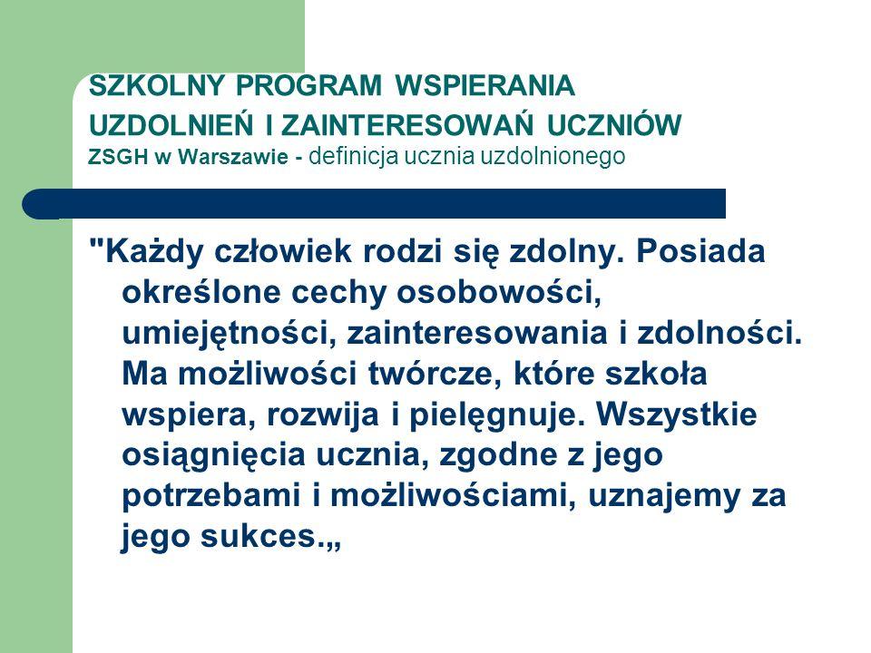SZKOLNY PROGRAM WSPIERANIA UZDOLNIEŃ I ZAINTERESOWAŃ UCZNIÓW ZSGH w Warszawie - definicja ucznia uzdolnionego