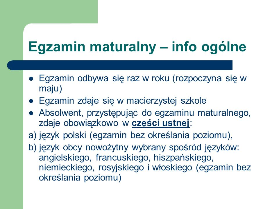Egzamin maturalny – info ogólne