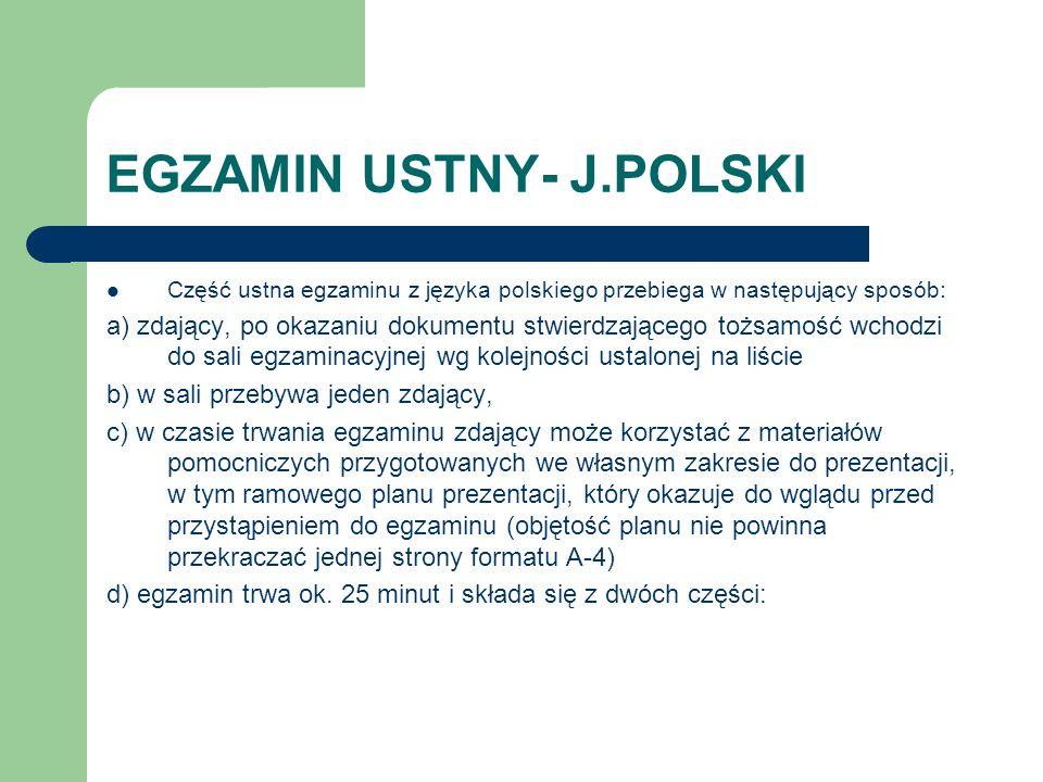 EGZAMIN USTNY- J.POLSKI
