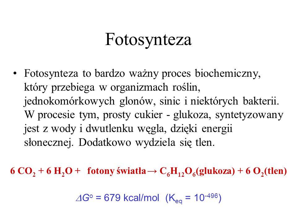 6 CO2 + 6 H2O + → C6H12O6(glukoza) + 6 O2(tlen)
