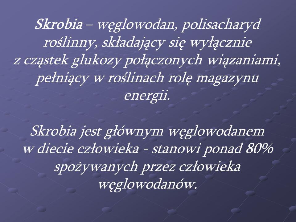 Skrobia – węglowodan, polisacharyd roślinny, składający się wyłącznie