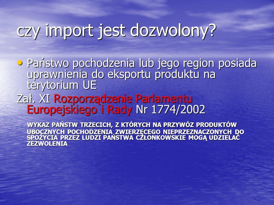 czy import jest dozwolony