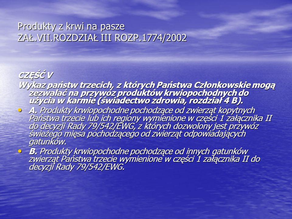 Produkty z krwi na pasze ZAŁ.VII.ROZDZIAŁ III ROZP.1774/2002