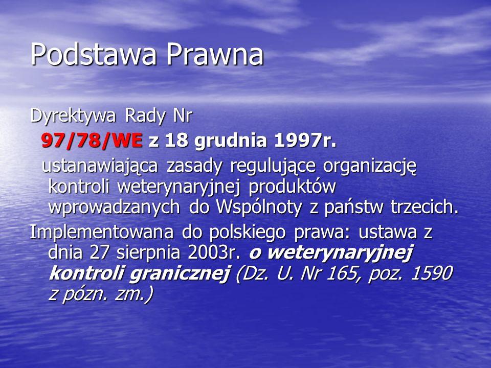 Podstawa Prawna Dyrektywa Rady Nr 97/78/WE z 18 grudnia 1997r.