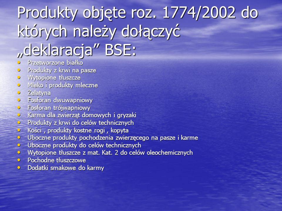"""Produkty objęte roz. 1774/2002 do których należy dołączyć """"deklaracja BSE:"""