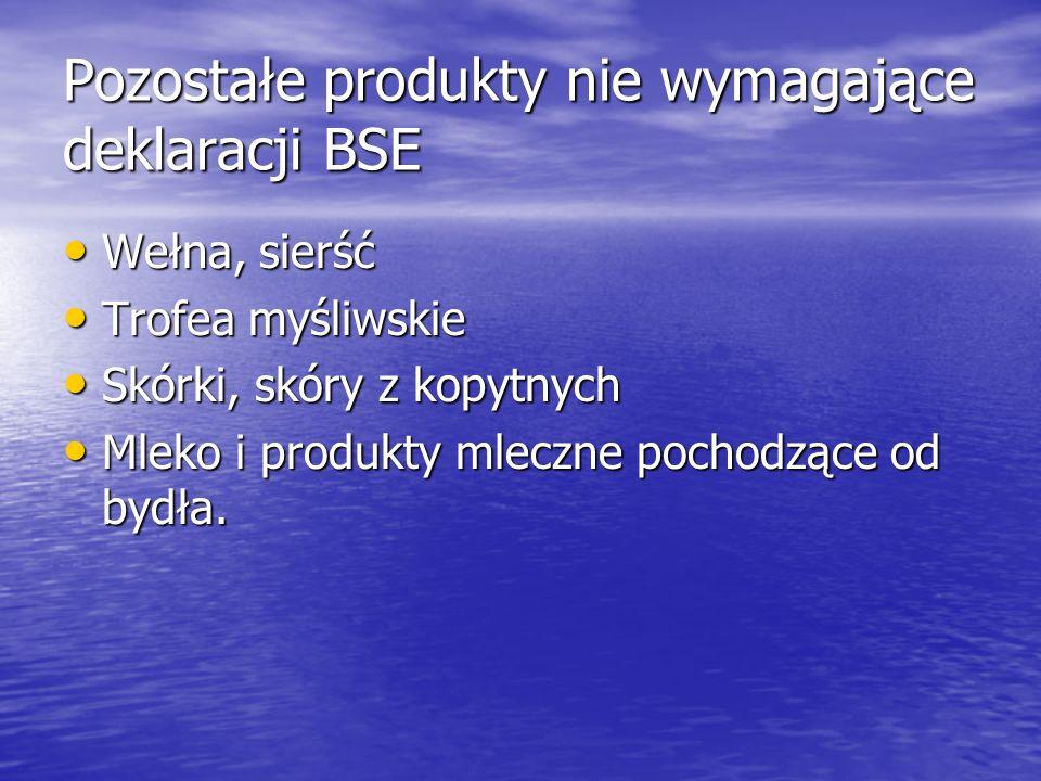 Pozostałe produkty nie wymagające deklaracji BSE