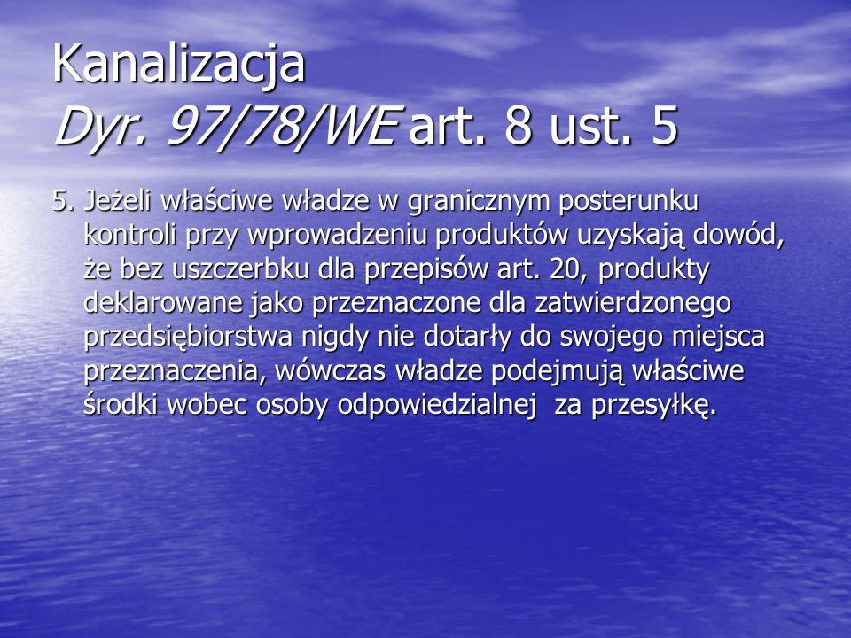 Kanalizacja Dyr. 97/78/WE art. 8 ust. 5