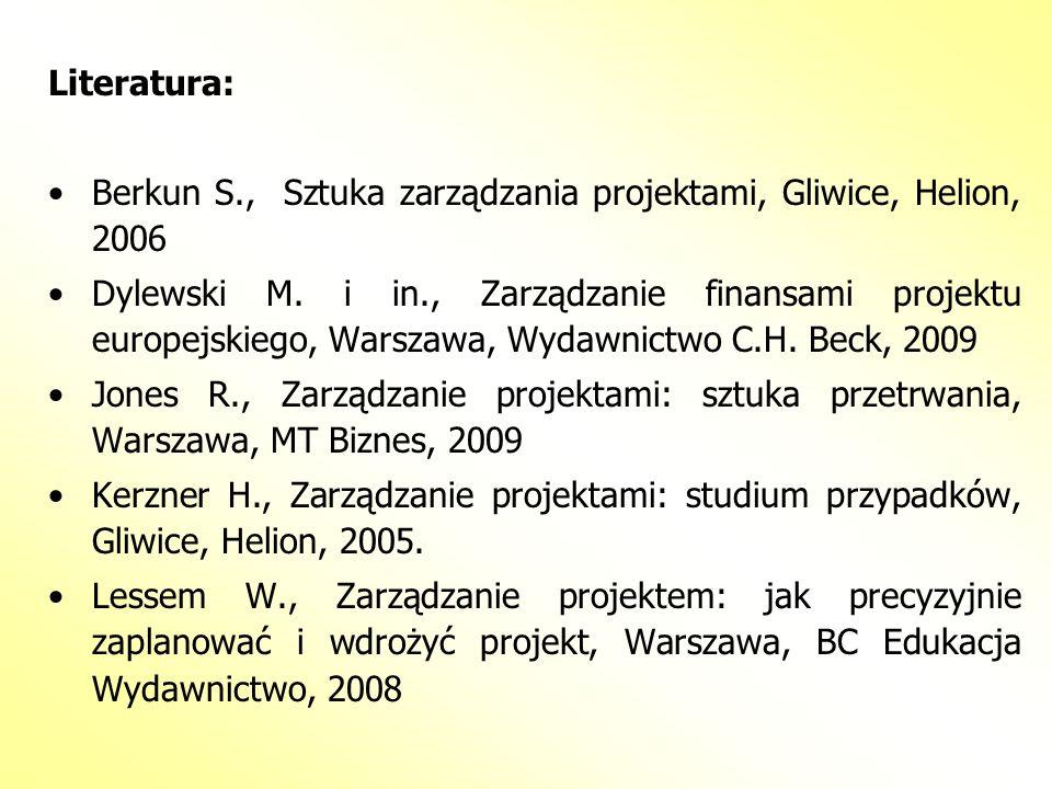 Literatura: Berkun S., Sztuka zarządzania projektami, Gliwice, Helion, 2006.