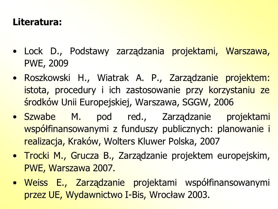 Literatura:Lock D., Podstawy zarządzania projektami, Warszawa, PWE, 2009.