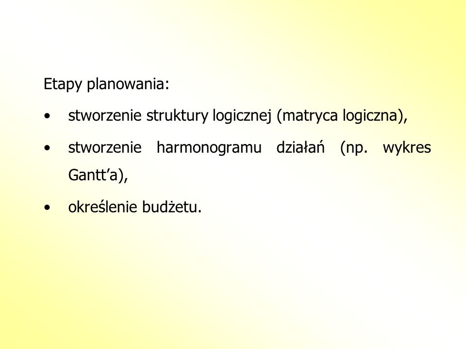 Etapy planowania: stworzenie struktury logicznej (matryca logiczna), stworzenie harmonogramu działań (np. wykres Gantt'a),