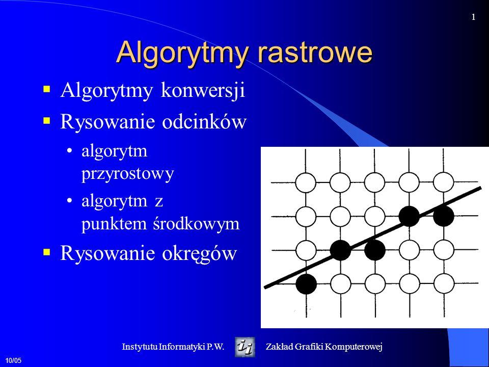 Algorytmy rastrowe Algorytmy konwersji Rysowanie odcinków