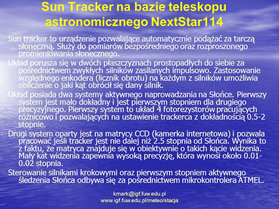 Sun Tracker na bazie teleskopu astronomicznego NextStar114