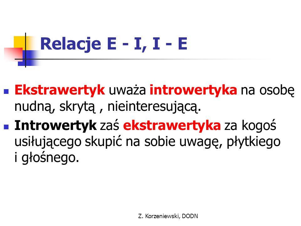 Relacje E - I, I - E Ekstrawertyk uważa introwertyka na osobę nudną, skrytą , nieinteresującą.