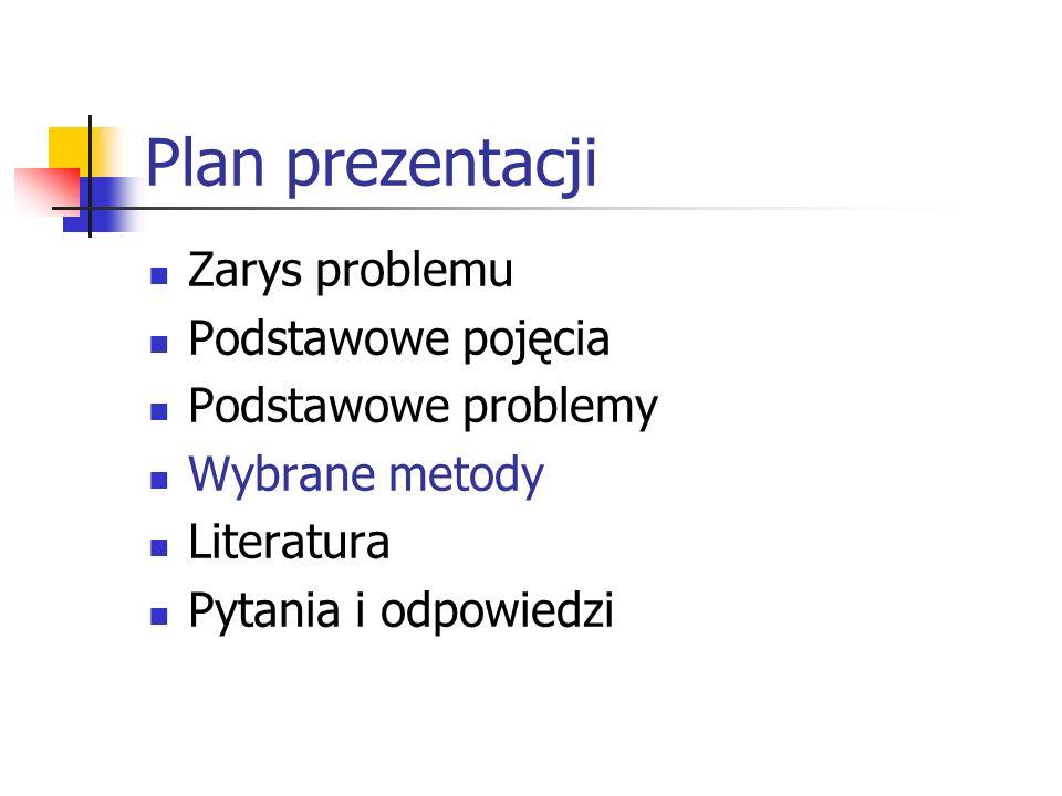 Plan prezentacji Zarys problemu Podstawowe pojęcia Podstawowe problemy