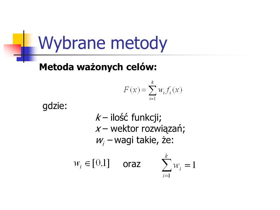 Wybrane metody gdzie: oraz Metoda ważonych celów: k – ilość funkcji;
