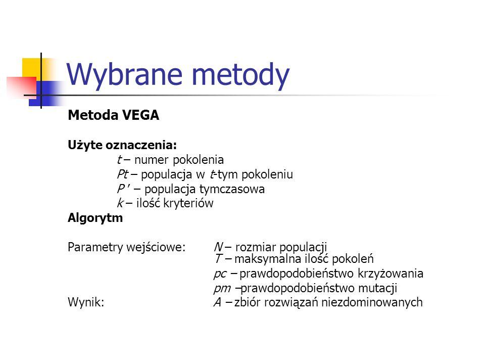 Wybrane metody Metoda VEGA Użyte oznaczenia: t – numer pokolenia