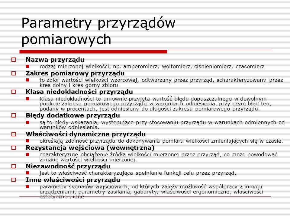 Parametry przyrządów pomiarowych