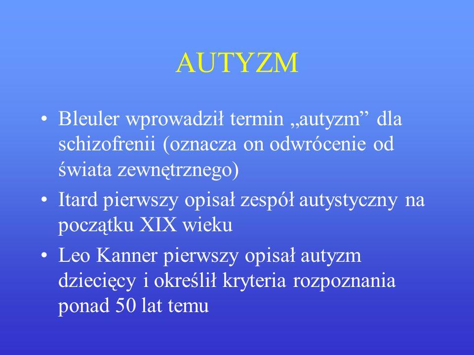 """AUTYZM Bleuler wprowadził termin """"autyzm dla schizofrenii (oznacza on odwrócenie od świata zewnętrznego)"""