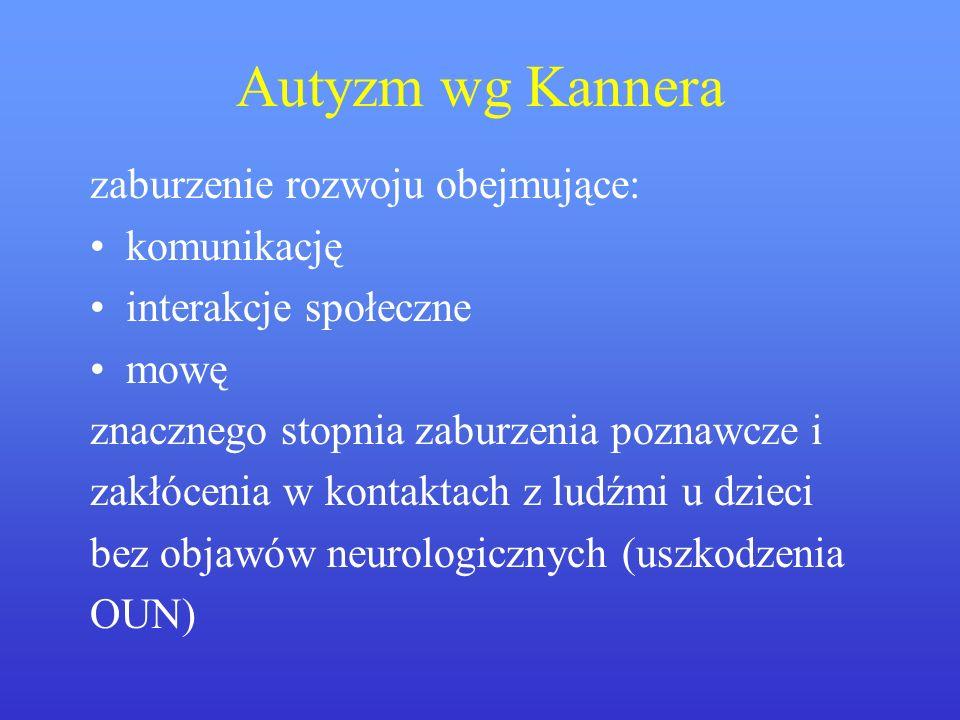 Autyzm wg Kannera zaburzenie rozwoju obejmujące: komunikację