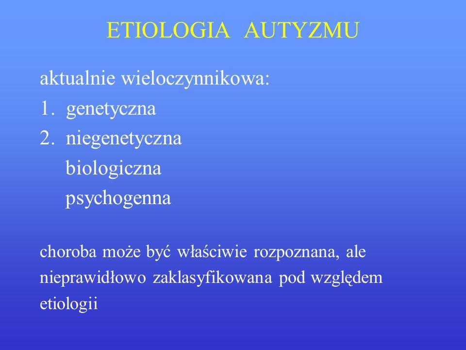 ETIOLOGIA AUTYZMU aktualnie wieloczynnikowa: 1. genetyczna
