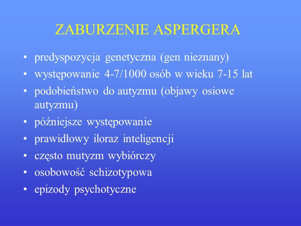 ZABURZENIE ASPERGERA predyspozycja genetyczna (gen nieznany)