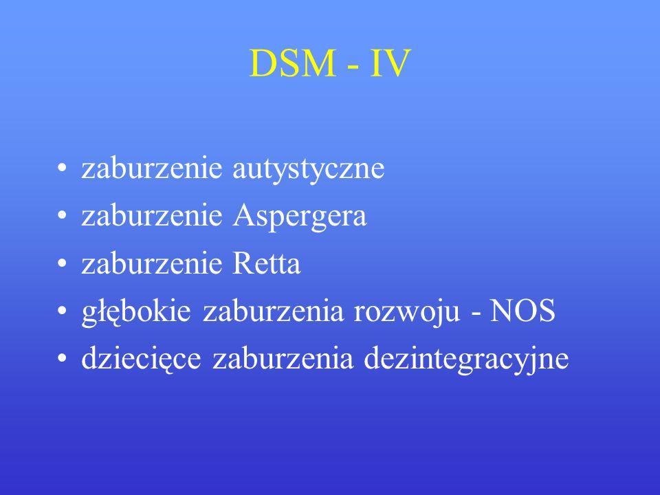 DSM - IV zaburzenie autystyczne zaburzenie Aspergera zaburzenie Retta