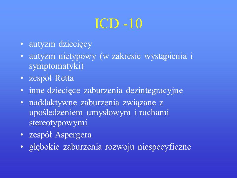 ICD -10autyzm dziecięcy. autyzm nietypowy (w zakresie wystąpienia i symptomatyki) zespół Retta. inne dziecięce zaburzenia dezintegracyjne.