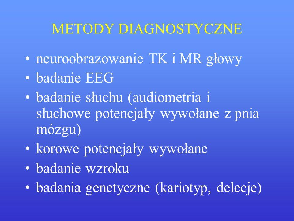 METODY DIAGNOSTYCZNE neuroobrazowanie TK i MR głowy. badanie EEG. badanie słuchu (audiometria i słuchowe potencjały wywołane z pnia mózgu)
