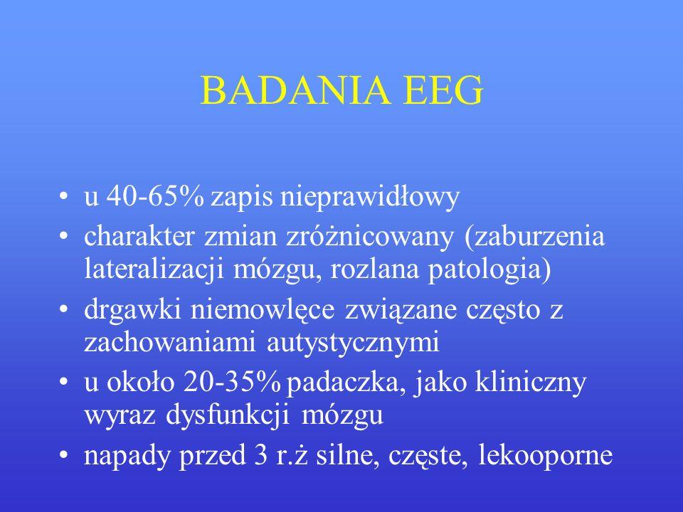 BADANIA EEG u 40-65% zapis nieprawidłowy