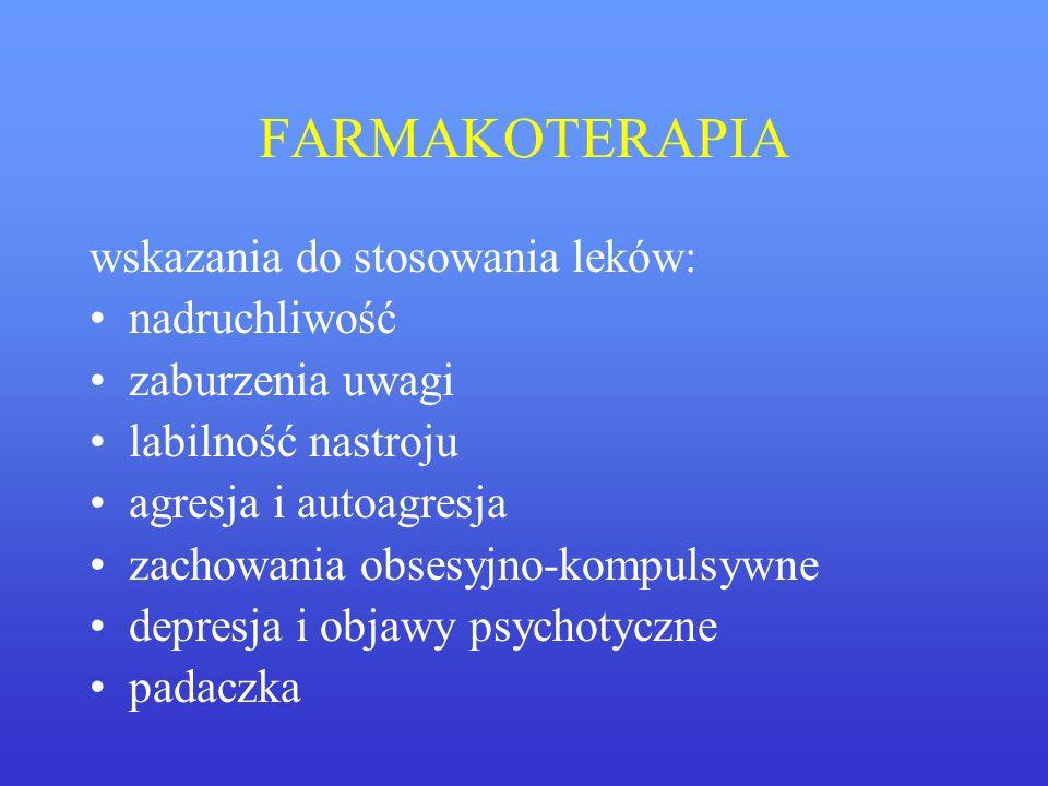 FARMAKOTERAPIA wskazania do stosowania leków: nadruchliwość