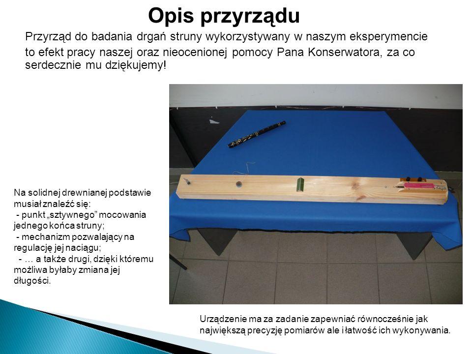 Opis przyrządu Przyrząd do badania drgań struny wykorzystywany w naszym eksperymencie.
