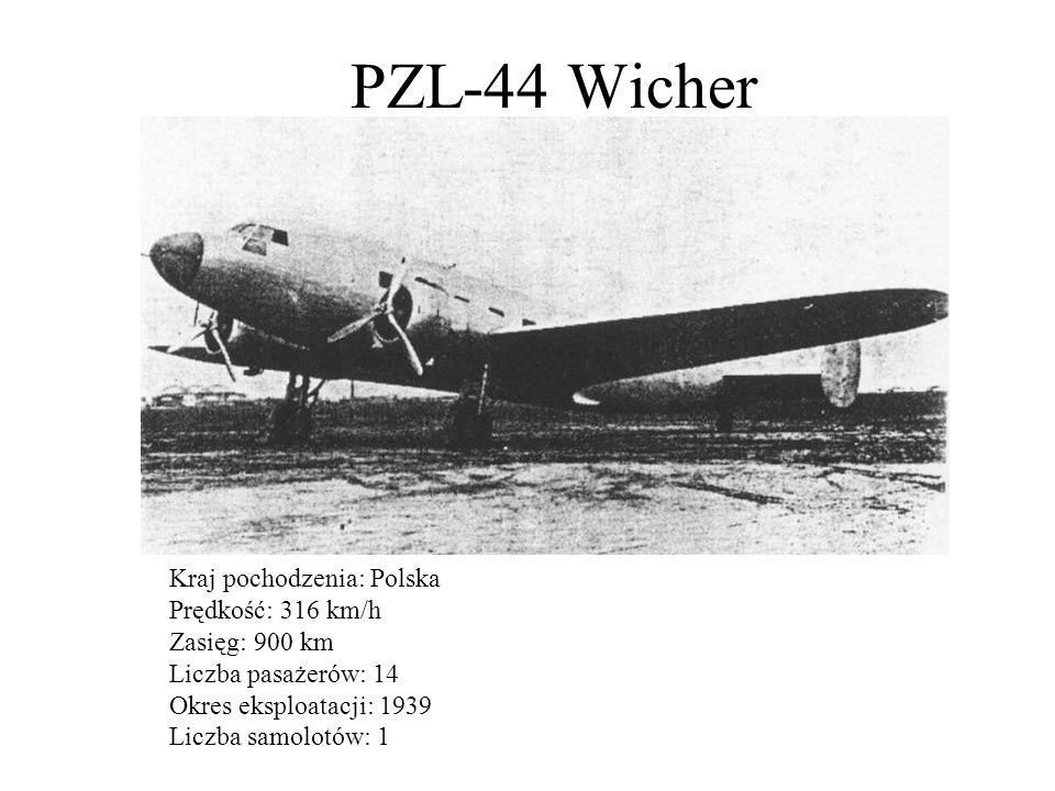 PZL-44 Wicher Kraj pochodzenia: Polska Prędkość: 316 km/h