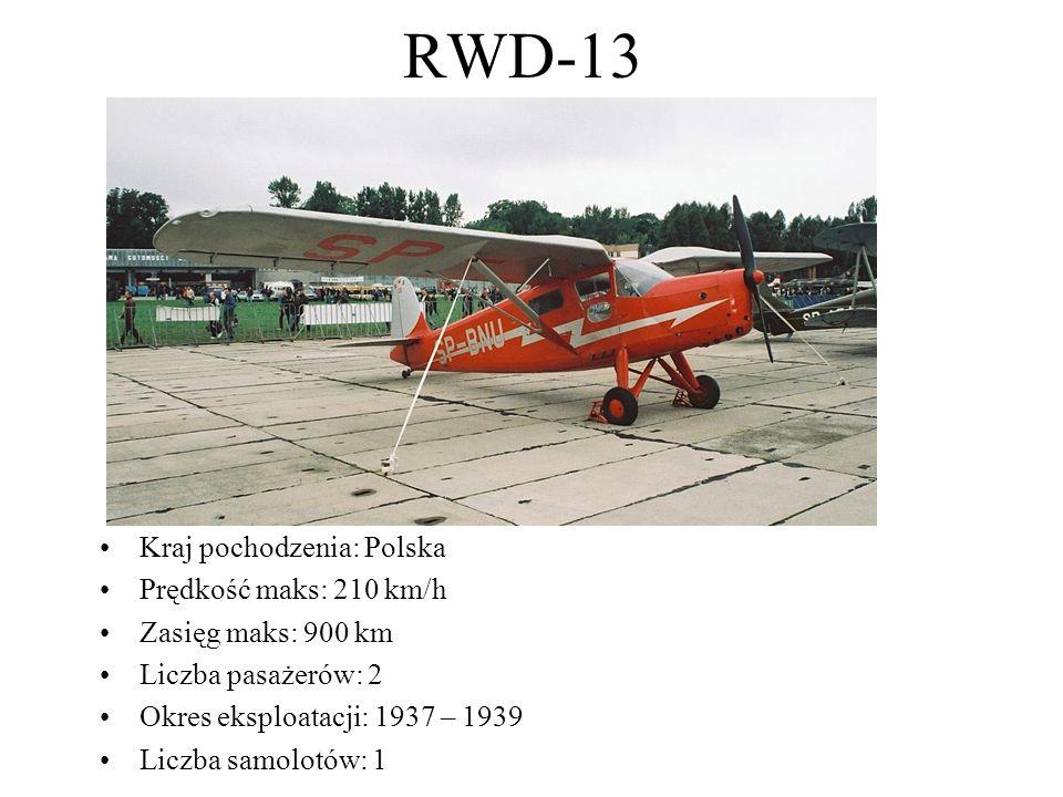 RWD-13 Kraj pochodzenia: Polska Prędkość maks: 210 km/h