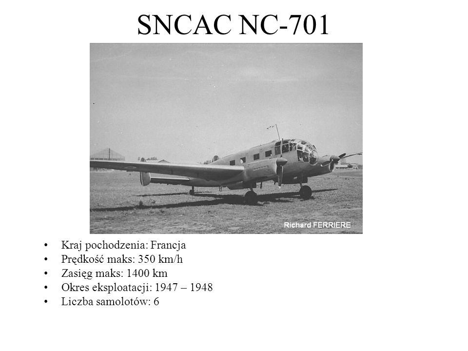 SNCAC NC-701 Kraj pochodzenia: Francja Prędkość maks: 350 km/h