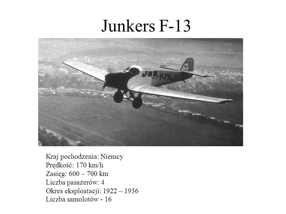 Junkers F-13 Kraj pochodzenia: Niemcy Prędkość: 170 km/h