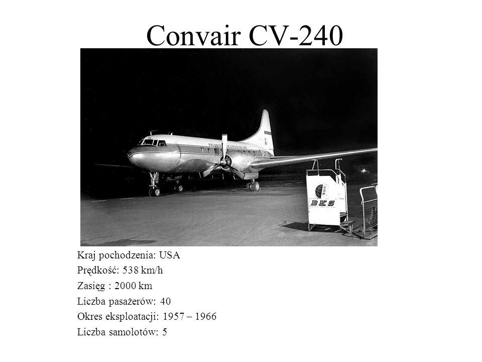 Convair CV-240 Kraj pochodzenia: USA Prędkość: 538 km/h