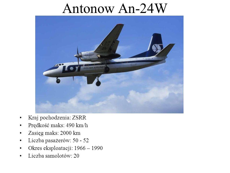 Antonow An-24W Kraj pochodzenia: ZSRR Prędkość maks: 490 km/h