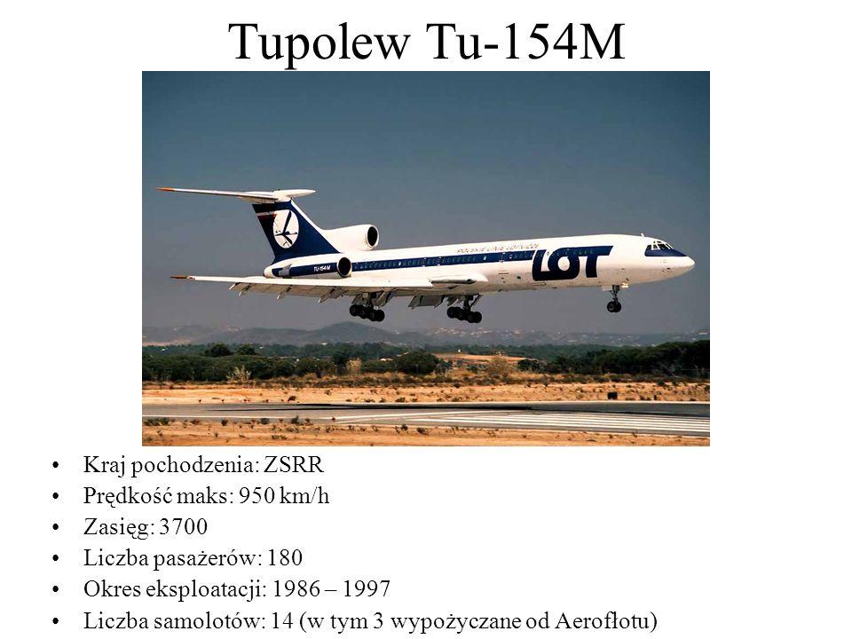 Tupolew Tu-154M Kraj pochodzenia: ZSRR Prędkość maks: 950 km/h